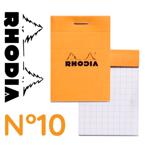 Rhodia 'Basics' No 10 Bloc / Head Stapled Pad ; 5,2x7,5cm (A8), square ruled (5x5), 80 sheets - Orange COVER