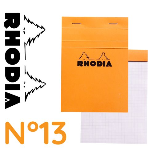 Rhodia 'Basics' No 13 Bloc / Head Stapled Pad ; 10,5x14,8cm (A6), Square ruled (5x5), 80 sheets - ORANGE COVER