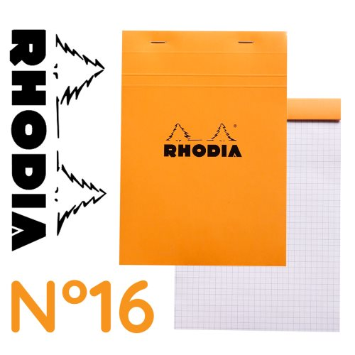 Rhodia 'Basics' No 16 Bloc / Head Stapled Pad ; 14,8x21cm (A5), square ruled (5x5), 80 sheets - ORANGE COVER