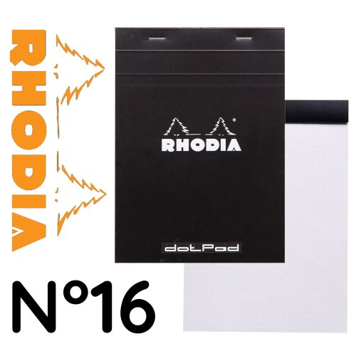 Rhodia 'Basics' DOTPAD No 16 ; 14,8x21cm (A5), 5x5 dot grid, 80 sheets - BLACK COVER
