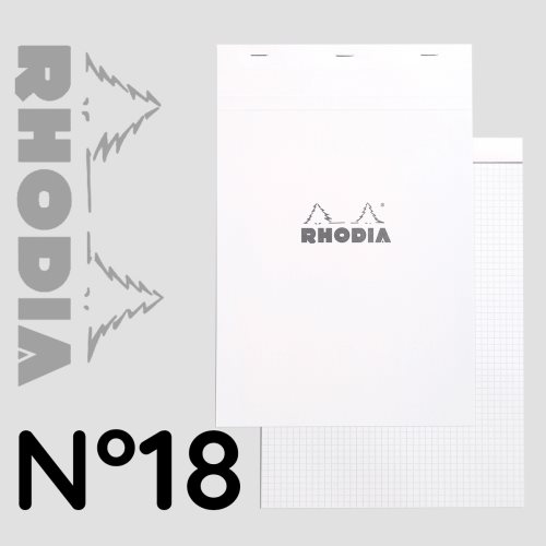Rhodia 'Basics' WHITE No 18 Bloc / Head Stapled Pad ; 21x29,7cm (A4), square ruled (5x5) , 80 sheets - WHITE COVER