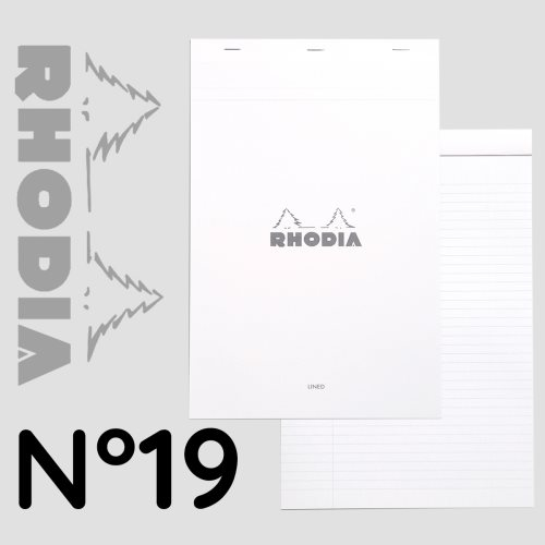Rhodia 'Basics' WHITE No 19 Bloc / Head Stapled Pad ; 21x29,7cm (A4), line ruled, 80 sheets - WHITE COVER