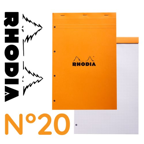 Bloc agrafe Rhodia 'Basics' n°20 A4 (21x31,8cm) petit carreaux 5x5 - 80 feuilles perforés 4 trous (orange)