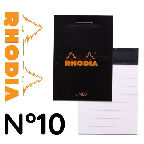 Rhodia 'Basics' No 10 Bloc / Head Stapled Pad ; 5,2x7,5cm (A8), line ruled, 80 sheets - BLACK COVER