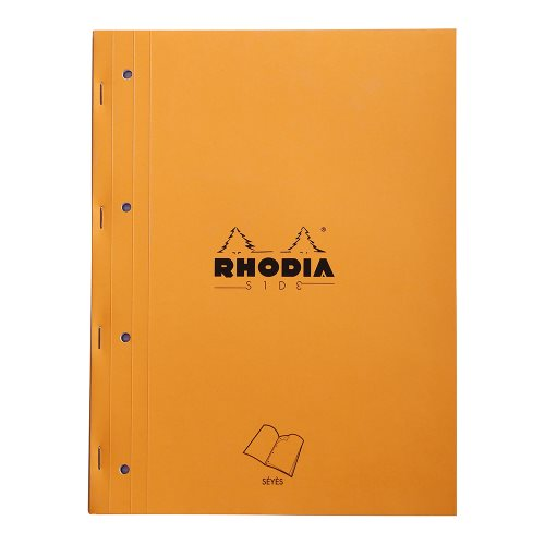 Rhodia 'Basics' SIDE Bloc perforé / Side Stapled Punched Pad ; 22,3x29,7cm (A4), grand carreaux (séyès), 80 sheets - ORANGE COVER
