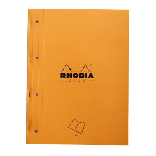Rhodia 'Basics' SIDE Bloc perforé / Side Stapled Punched Pad ; 22,3x29,7cm (A4), square ruled (5x5), 80 sheets - ORANGE COVER