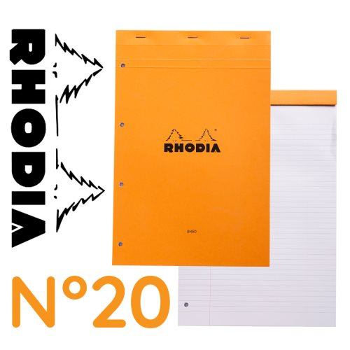 Rhodia 'Basics' No 20 Bloc perforé / Head Stapled Punched Pad ; 21x31,8cm (A4), line & margin ruled, 80 sheets - ORANGE COVER