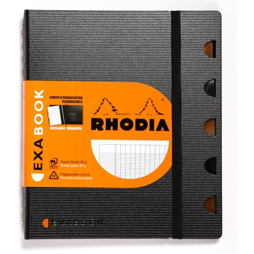 Cahier organisation Rhodia Exabook A5+ grands carreaux (séyès) - spirales - 160p