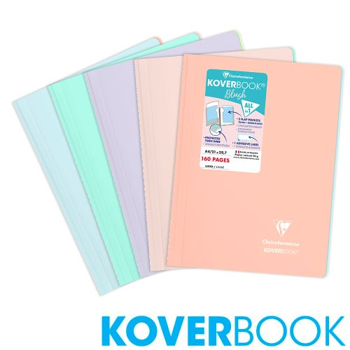 Koverbook 'Blush' by Clairefontaine ; A4 (21x29,7cm) Polypro Spiral-Bound Notebook, with page markers, lined and margined - 160p (assorted colours)