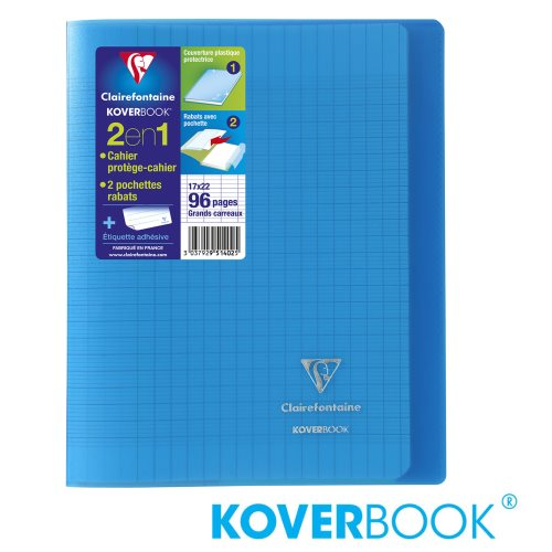 KOVERBOOK : Cahier avec Coverture Robuste, 17x22cm - grands carreaux (séyès) - 96p (transparent bleu)