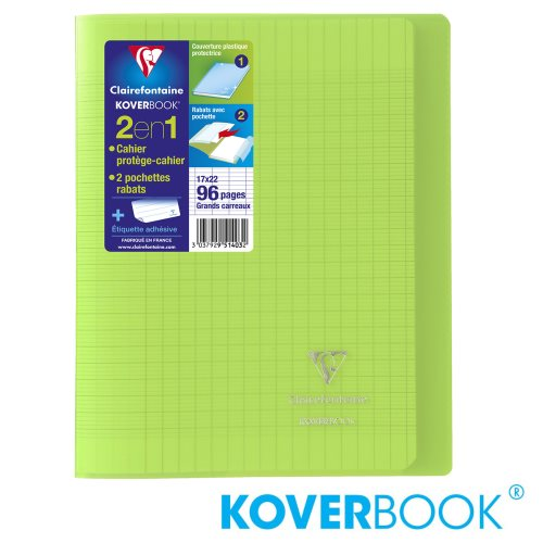 KOVERBOOK : Cahier avec Coverture Robuste, 17x22cm - grands carreaux (séyès) - 96p (transparent vert)