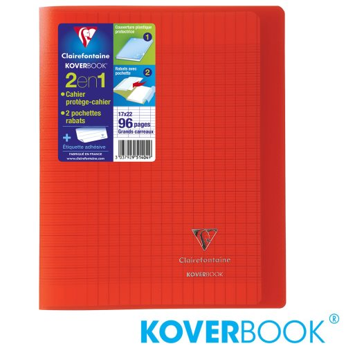 KOVERBOOK : Cahier avec Coverture Robuste, 17x22cm - grands carreaux (séyès) - 96p (transparent rouge)