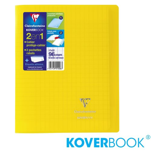KOVERBOOK : Cahier avec Coverture Robuste, 17x22cm - grands carreaux (séyès) - 96p (transparent jaune)