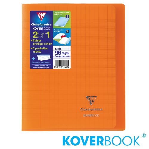 KOVERBOOK : Cahier avec Coverture Robuste, 17x22cm - grands carreaux (séyès) - 96p (transparent orange)