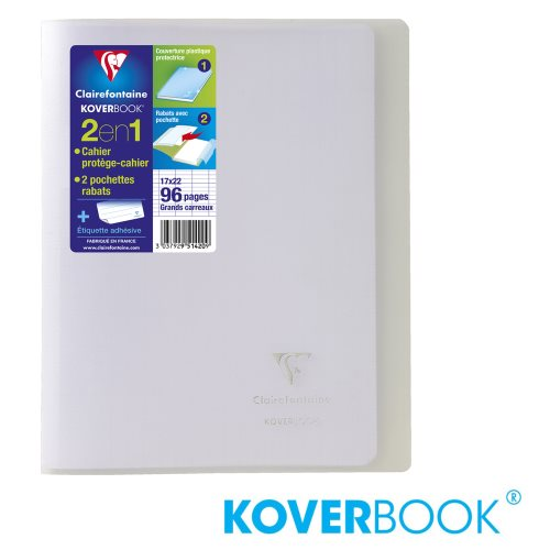 KOVERBOOK : Cahier avec Coverture Robuste, 17x22cm - grands carreaux (séyès) - 96p (incolore / transparent)