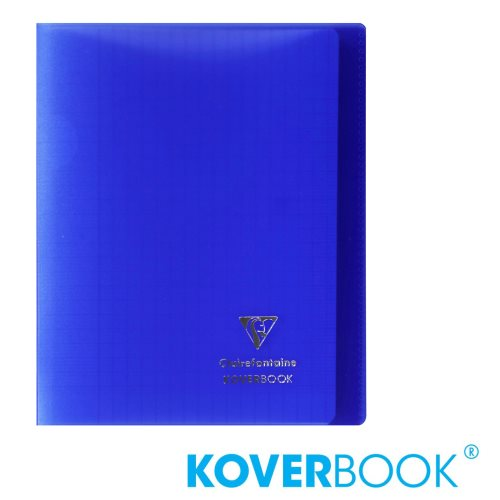 KOVERBOOK : Cahier avec Coverture Robuste, 17x22cm - grands carreaux (séyès) - 96p (transparent marine)