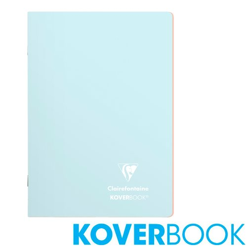 Koverbook 'Blush' by Clairefontaine ; A5 (14,8x21cm) Polypro Notebook, with page markers, lined - 96p (Frost Blue / Coral Pink)