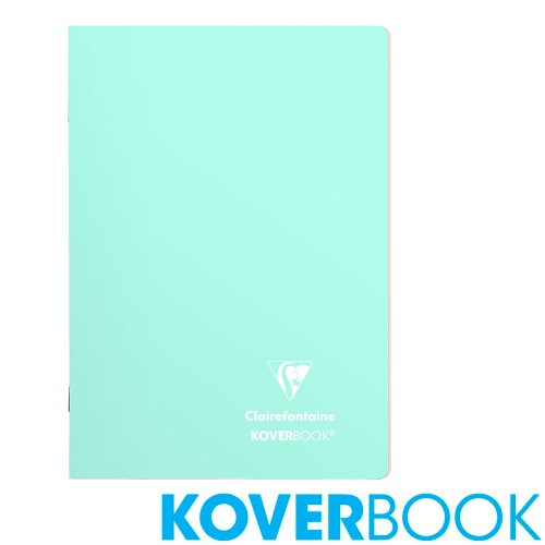 Koverbook 'Blush' by Clairefontaine ; A5 (14,8x21cm) Polypro Notebook, with page markers, lined - 96p (Fresh Mint / Powder Rose)