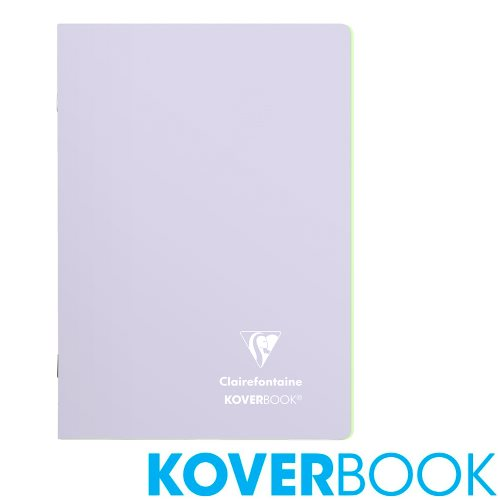 Koverbook 'Blush' by Clairefontaine ; A5 (14,8x21cm) Polypro Notebook, with page markers, lined - 96p (Lilac / Lime Green)