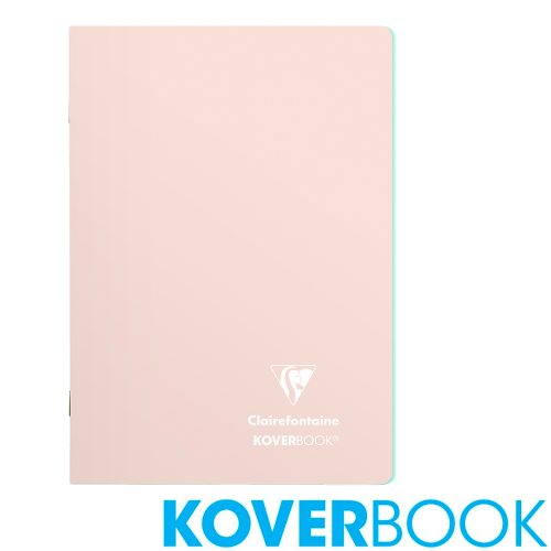 Koverbook 'Blush' by Clairefontaine ; A5 (14,8x21cm) Polypro Notebook, with page markers, lined - 96p (Powder Rose / Fresh Mint)