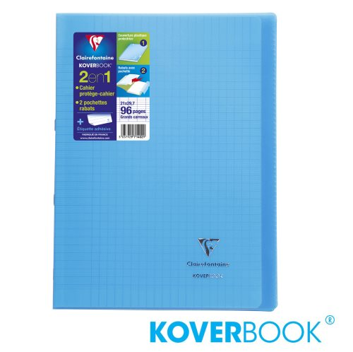 KOVERBOOK : Cahier avec Coverture Robuste, A4 (21x29,7cm) - grands carreaux (séyès) - 96p (transparent bleu)