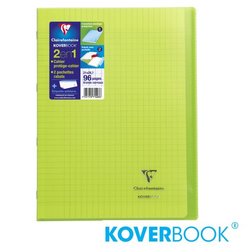 KOVERBOOK : Cahier avec Coverture Robuste, A4 (21x29,7cm) - grands carreaux (séyès) - 96p (transparent vert)