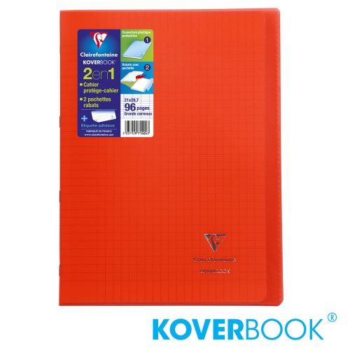 KOVERBOOK : Cahier avec Coverture Robuste, A4 (21x29,7cm) - grands carreaux (séyès) - 96p (transparent rouge)