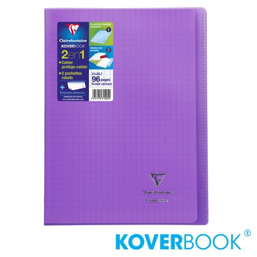 KOVERBOOK : Cahier avec Coverture Robuste, A4 (21x29,7cm) - grands carreaux (séyès) - 96p (transparent violet)