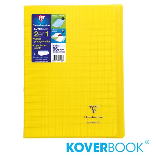 KOVERBOOK : Cahier avec Coverture Robuste, A4 (21x29,7cm) - grands carreaux (séyès) - 96p (transparent jaune)