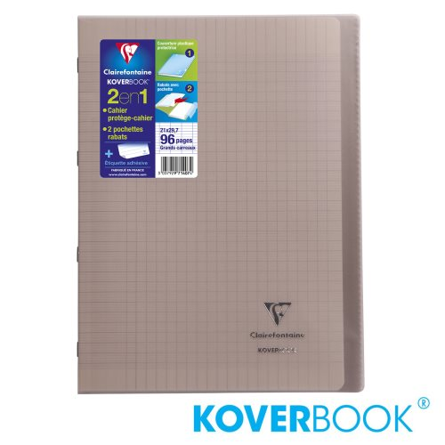 KOVERBOOK : Cahier avec Coverture Robuste, A4 (21x29,7cm) - grands carreaux (séyès) - 96p (transparent gris)
