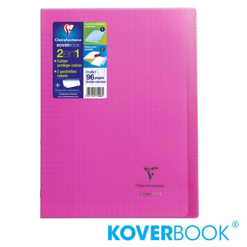 KOVERBOOK : Cahier avec Coverture Robuste, A4 (21x29,7cm) - grands carreaux (séyès) - 96p (transparent rose)