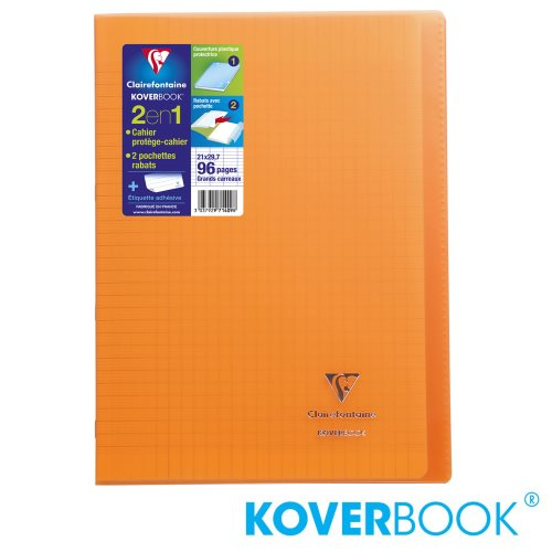KOVERBOOK : Cahier avec Coverture Robuste, A4 (21x29,7cm) - grands carreaux (séyès) - 96p (transparent orange)