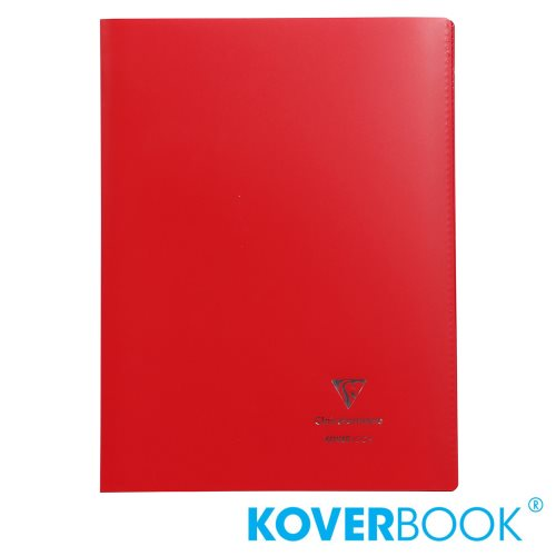 KOVERBOOK : Cahier avec Coverture Robuste, A4 (21x29,7cm) - grands carreaux (séyès) - 96p (opaque rouge)