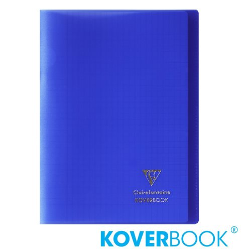 KOVERBOOK : Cahier avec Coverture Robuste, A4 (21x29,7cm) - grands carreaux (séyès) - 96p (transparent marine)