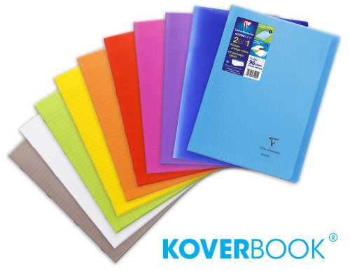 KOVERBOOK : Robust Polypro covered notebook, A4 (21x29,7cm) - lined and margined - 96p (assorted transparent colours)
