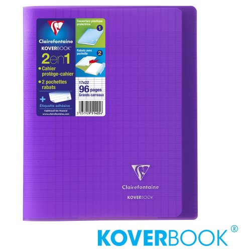 KOVERBOOK : Cahier avec Coverture Robuste, A4+ (24x32cm) - grands carreaux (séyès) - 96p (transparent violet)