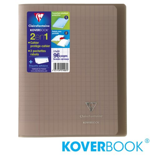 KOVERBOOK : Cahier avec Coverture Robuste, A4+ (24x32cm) - grands carreaux (séyès) - 96p (transparent gris )