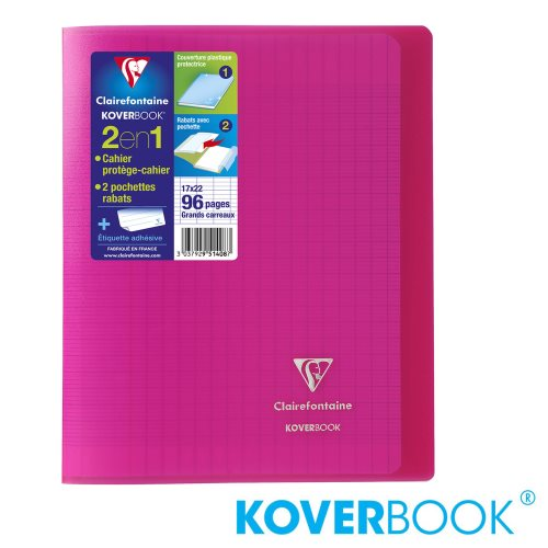 KOVERBOOK : Cahier avec Coverture Robuste, A4+ (24x32cm) - grands carreaux (séyès) - 96p (transparent rose)