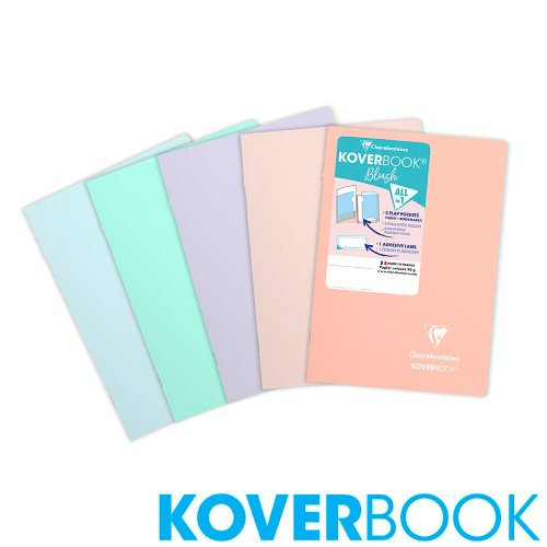 Koverbook 'Blush' by Clairefontaine ; A4+ (24x32cm) Polypro Notebook, with page markers, grand carreaux (séyès) - 96p (assorted colours)