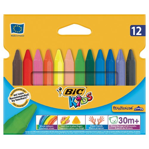 12 Craies de Coloriage Bic Kids 'Plastidecor' Triangulaire
