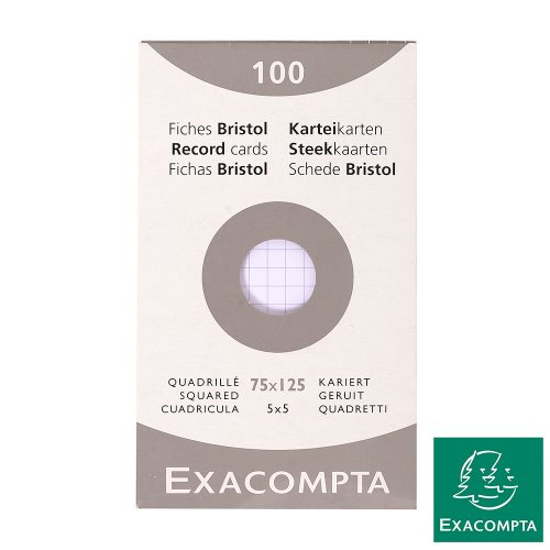 100X Fiches Bristol / Record Cards - 75x125mm - 5x5 (Grid); white