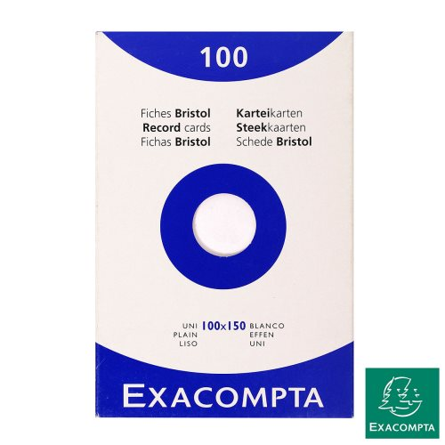 100X Fiches Bristol / Record Cards - 100x150mm - plain / unruled; white