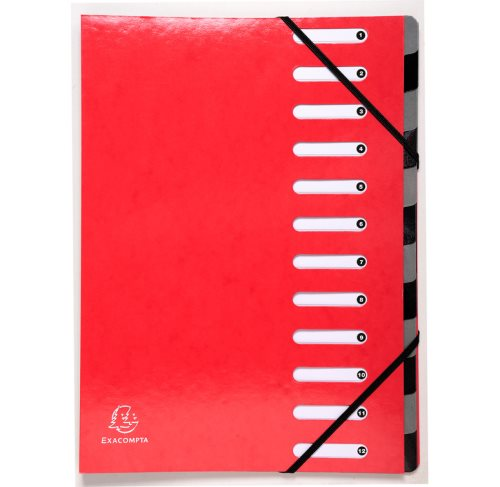 Trieur 12 compartiments / harmonika file 'IDERAMA' - (rouge)