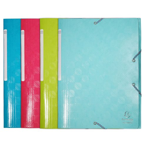 3 Flap Elasticated Folder ; Exacompta '1928' , Heavy 600gsm card stock - (varying colours)