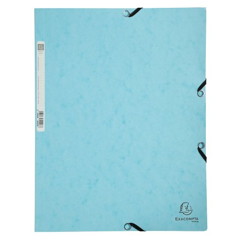 3 Flap Elasticated Folder ; Exacompta 'Aquarel' (Pastel), 400gsm card stock - (blue)