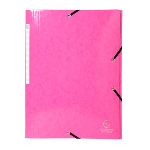 Iderama 3-Flap Elasticated Folder in 425gsm Card; Glossy - Pink