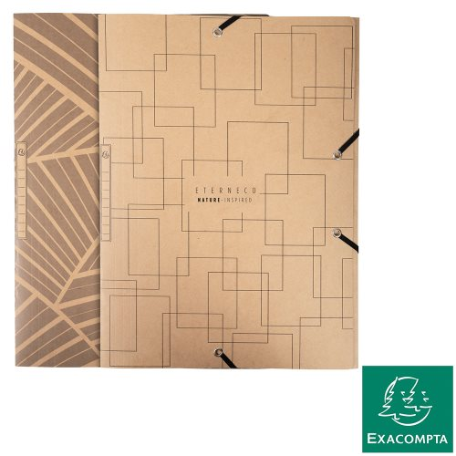 3 Flap Elasticated Folder ; Exacompta Eterneco (Natural), 400gsm Sustainable Card - kraft (designs assorted)