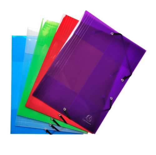 'Crystal' 3 Flap Elasticated Polypro Folder by Exacompta - 24x32cm for A4 documents - assorted semi-transparent colours