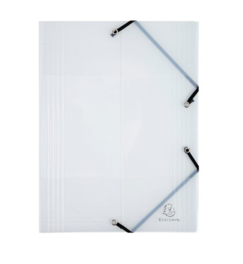 'Crystal' 3 Flap Elasticated Polypro Folder by Exacompta - 24x32cm for A4 documents - clear / semi-transparent