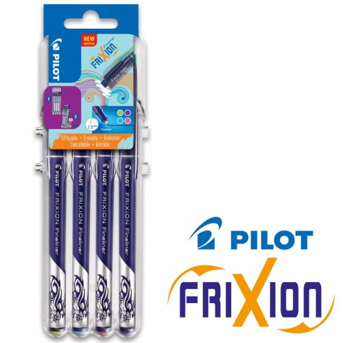 4 Stylos feutre fine Pilot 'Frixion - Fineliner' (0.4mm) - 'Fun' Desktop Set